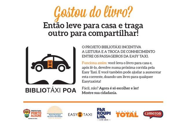 Porto Alegre, RS - 21/09/2015 Projeto Bibliotáxi em Porto Alegre será lançado nesta quinta-feira, 24 de setembro e contará com mais de 20.000 livros de categorias variadas disponibilizadas em táxis da região Foto: Divulgação/PMPA